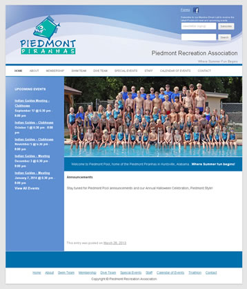 Piedmont Pool website screenshot